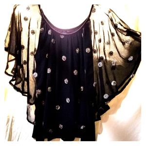 Black and gold casual bohemian top